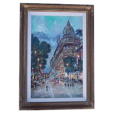 Oil of Via Veneto in Rome-Signed Carlo Montesi