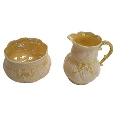 Belleek Creamer and Sugar Bowl Set