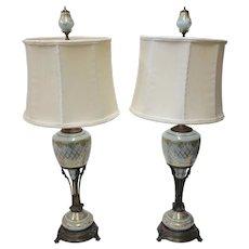 Pair of Aqua Blue Neoclassical Glass Lamps