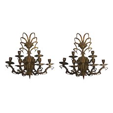 Pair of Vintage French Bouquet Six Arm Brass Wall Sconces