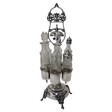 Antique Silver Castor Set with Butler's Bell - Circa 1870s