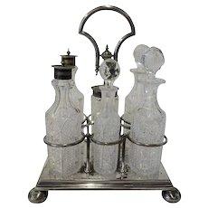 Antique Daniel & Arter Silver Cut Crystal Castor Set