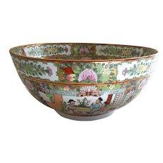 "Vintage Chinese Rose Canton 14"" Porcelain Bowl"