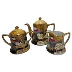 Vintage Shofu Style Mt Fuji Lotus Porcelain Tea Set