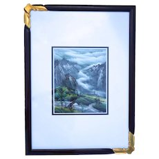 Asian Mountain Landscape Signed Watercolor