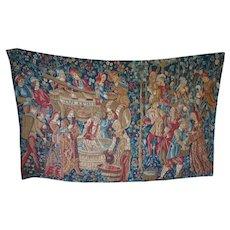Vintage Italian Wine Making Scene Tapestry