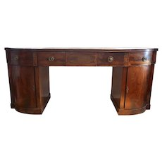 Antique English Inlaid Mahogany Breakfront Pedestal Sideboard