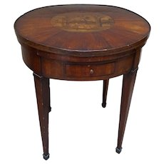 French Marble Inset Loo Table with Removable Marquetry Top