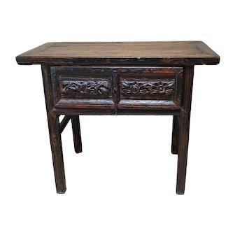 Primitive Painted Antique Asian Console Table