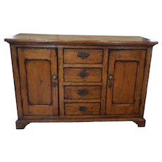 Antique English Fruitwood Cabinet with Drawers