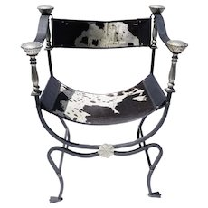Italian Iron And Brass Savonarola Cowhide Chair