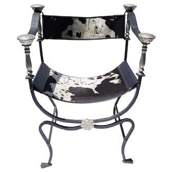 Italian Iron And Brass Savonarola Cowhide Chair