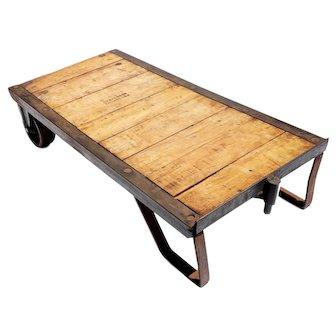 Vintage Industrial Steel and Wood Skid Coffee Table