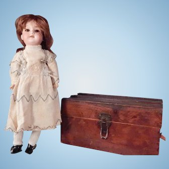 Great little Armand Marseille 390 With Antique Trunk, wardrobe