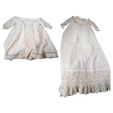 Lot of two antique baby dresses