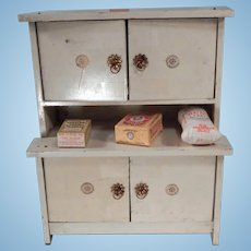 Nice Vintage Doll Kitchen Cabinet with miniatures.