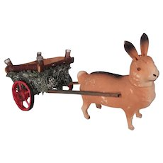 Adorable Easter Bunny and Cart Candy Container