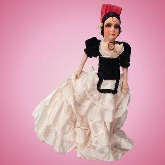 "Great 18"" French Boudoir doll Dressed as a Spanish Senorita"