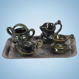 Cute Vintage clay pottery set with Metal Tray