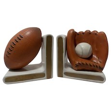 Vintage Lefton Ceramic Football and Baseball Sport Bookends