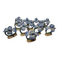 Vintage Pia Bone China Iris Napkin Ring Holders