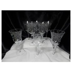 Vintage Clear Gray Cut Flora with Dots Water Goblet