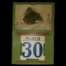 "1930's-40""s Missouri Pacific Lines Railroad Perpetual Calendar Steam Engine 6615"