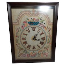Vintage Clock with Hand Stitched Embroidered Clock Face and Hand Built Case