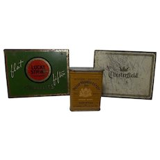 Vintage Group of 3 cigarette tins, Philip Morris, Lucky Strike, and Chesterfield