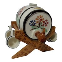 Vintage Handerbeit Miniature Wine/Beer Barrel with Cradle and 4 Mugs