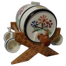 Vintage Handerbeit Miniature Wine/Beer Barrel with Cradle and 4 Mugs