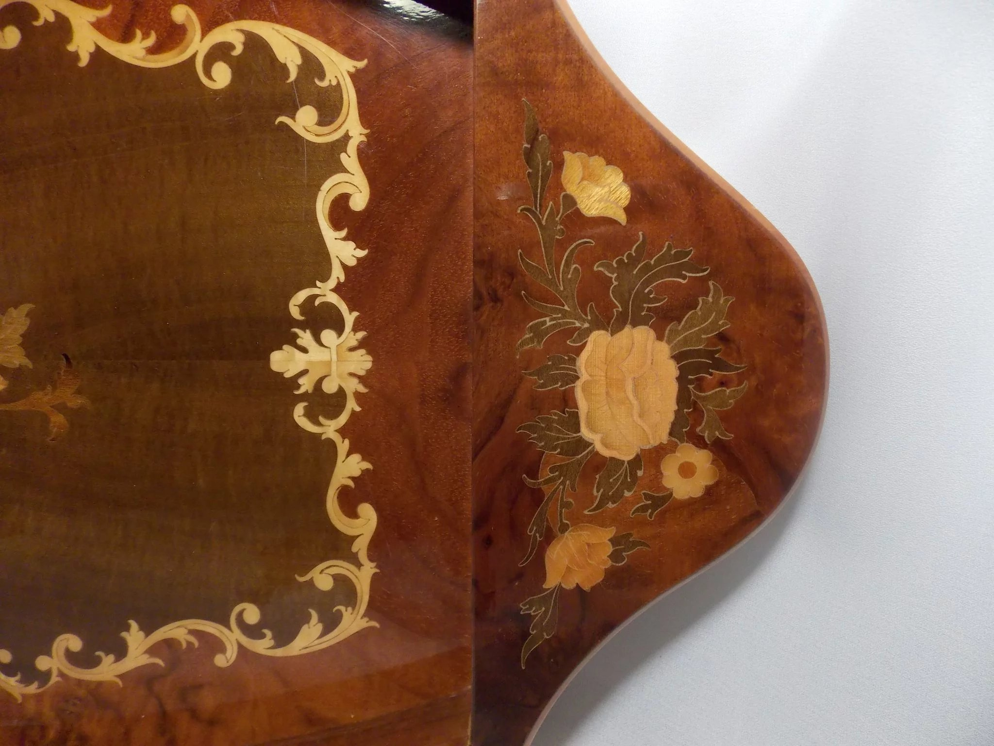 Vintage Inlaid Wood Serving Tray Music Box Ma Price S