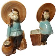 Pair of Vintage Royal Copley Asian Girls with Baskets Planters