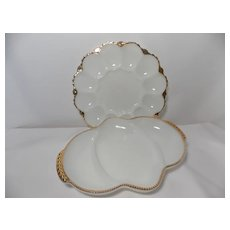 Anchor Hocking Gold Trimmed Milk Glass Egg Plate & Fire King Relish Dish