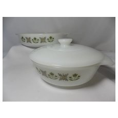 Vintage Fire-King Meadow Green Casserole Dish and Cake Pan