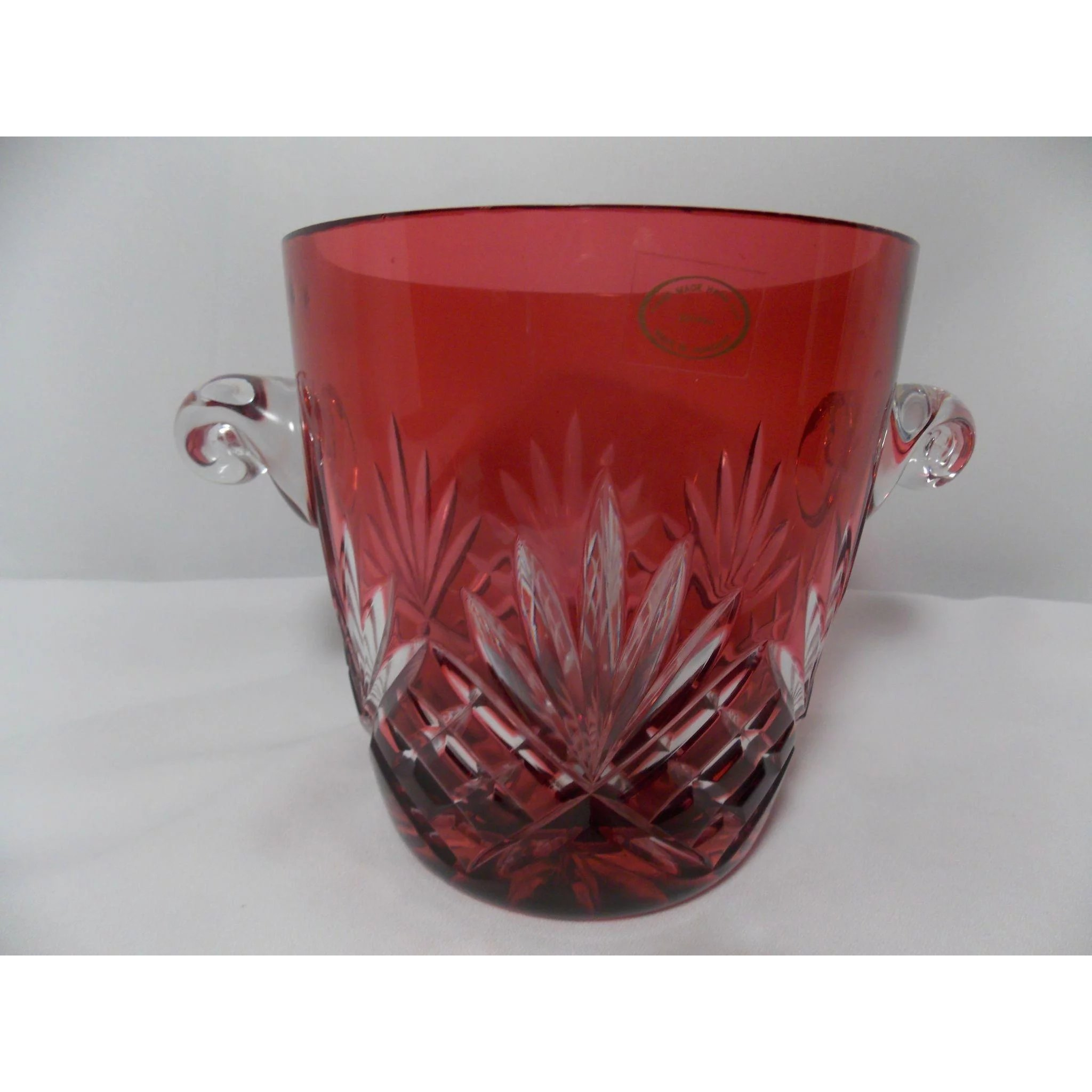 Ajka European Style Cranberry Cased Cut To Clear Crystal Wine Goblet Set Of 2 High Safety Art Glass