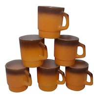 Vintage Fire King Brown and Orange Stackable Mugs