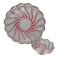 Vintage German Peppermint Swirl Lead Crystal Chip and Dip Set