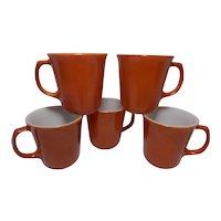 1970 Burnt Orange Pyrex by Corning Coffee Cup Mugs