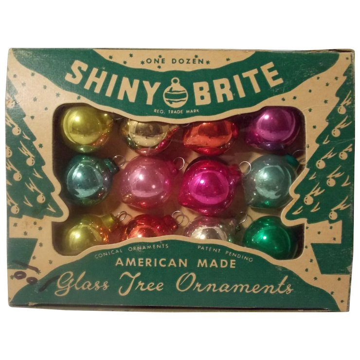 vintage shiny brite christmas ornaments in original box - Vintage Shiny Brite Christmas Ornaments