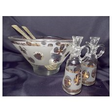 Vintage Mid-century Salad Set with Bowl, two Cruets and Serving Fork and Spoon