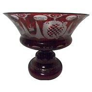 Vintage Beautiful Cut to Clear Ruby Red Compote