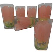Vintage Set Federal Glass Hibiscus Flowers Juice Glasses (6)