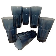 Vintage Libbey Gibraltar Dusky Blue Glasses (Set of 6)