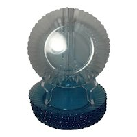 Vintage Fortecrisa Glass Azure Ice Blue Luncheon Plates (set of 8)