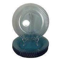 Vintage Fortecrisa Glass Azure Ice Blue Dinner Plates (set of 8)
