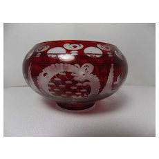 Ruby Red Cut to Clear Candle Holder