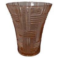 Vintage Hazel Atlas Pink Basket Weave Vase