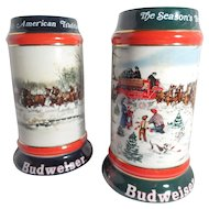 "Budweiser Holiday Steins ""An American Tradition"" and ""The Season's Best"""
