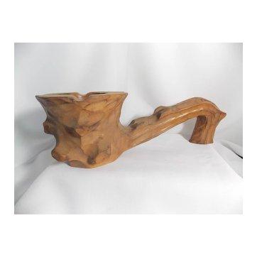 Vintage Hand Carved Redwood Ashtray